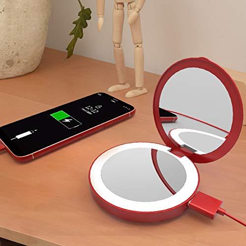 FafSgwq Portable Mini LED Light Tri-Fold Illuminating Pliable Power Bank Makeup Mirror Tools Rose