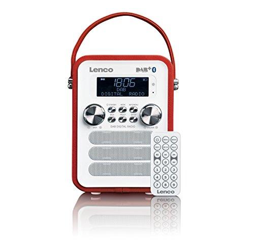 Lenco Vintage Digitalradio DAB+ PDR-050 mit Bluetooth , PLL FM-Radio und RDS/LCD Display Rot