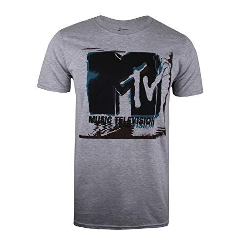MTV Herren Glitch T-Shirt, Grau (Heather Grey Hgy), XXL