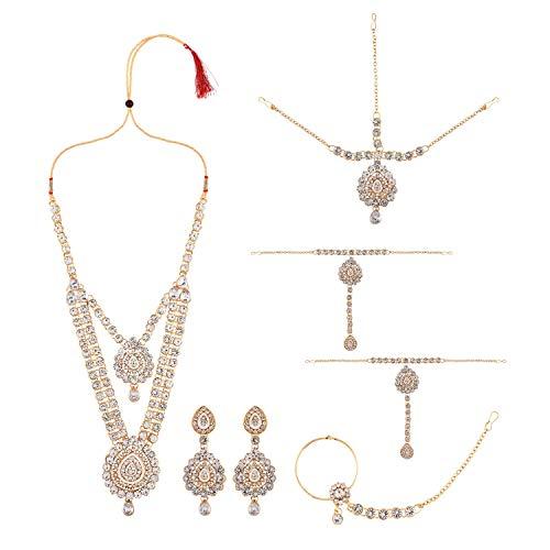Efulgenz Juego de gargantilla de cristal con diamantes de imitación de Bollywood de la India, collar y pendientes de Maang Tikka cabeza cadena nariz anillo pulsera blanco