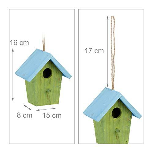 Relaxdays Deko Vogelhaus bunt, aus Holz, Kleines Vogelhäuschen, Frühlingsdeko zum Aufhängen, HBT: ca. 16 x 15 x 8 cm, grün - 4
