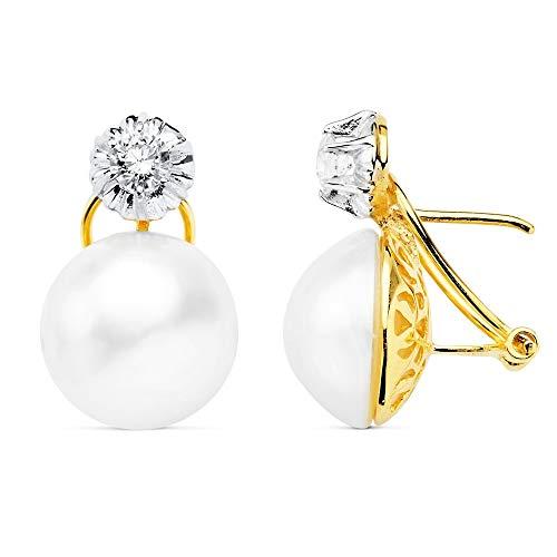 Pendientes oro 18k perla japonesa 13mm. garra circonita tuyyo cierre omega