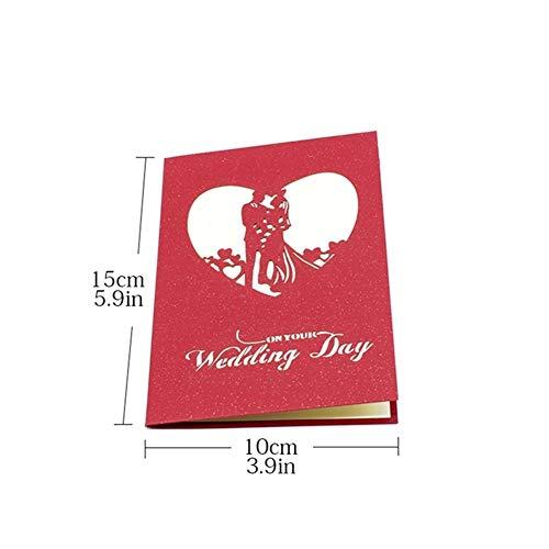 3D Brautduschen-Liebes-Valentinstag-Karten-romantische Jahrestags-Knall-Karten Verheiratete Laser Geschnittene Hochzeitseinladung Gruß-Karten (Color : Red)