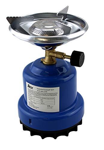 IMEX Gaskocher Butan-Kocher Blau BFC-2195 - Tragbarer Campingkocher - Ideal zum Erwärmen von Speisen und Wasser