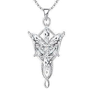 JO WISDOM Damen Halskette Arwen Evenstar Abendstern Sterling Silber 925,Kette Anhänger mit 5A Zirkonia, Elfen Schmuck