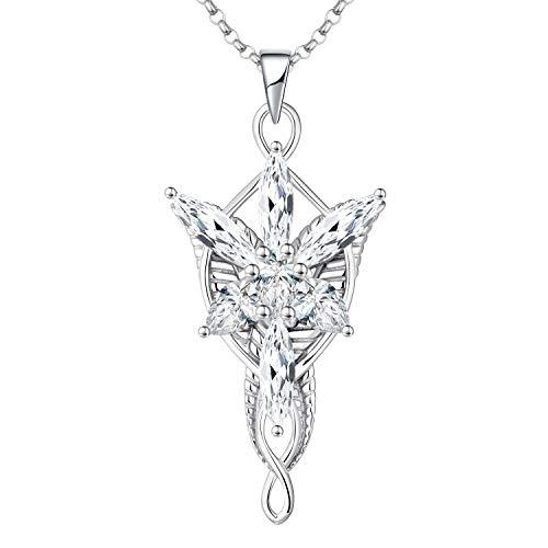 JO WISDOM Damen Halskette Arwen Evenstar Sterling Silber 925,Kette Anhänger mit 5A Zirkonia, Elfen Schmuck