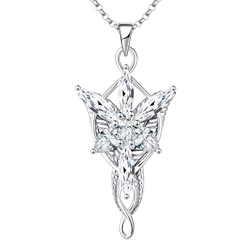 JO WISDOM Arwen Evenstar Necklace,925 Sterling Silver Pendant Necklace with 5A Cubic Zirconia,Elvish Jewelry for Women