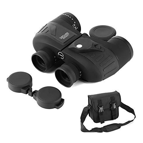 Binoculares, 10x50 BAK4 Prisma Prismáticos Accesorio marino impermeable con brújula Glimmer Telémetro de visión nocturna(Negro)
