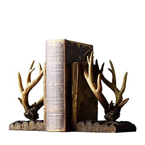 LICHUAN Sujetalibros Shofar de 1 par de sujetalibros de estilo vintage de alta resistencia para libros, soportes de resina antideslizante, tapones decorativos para libros, soporte para libros