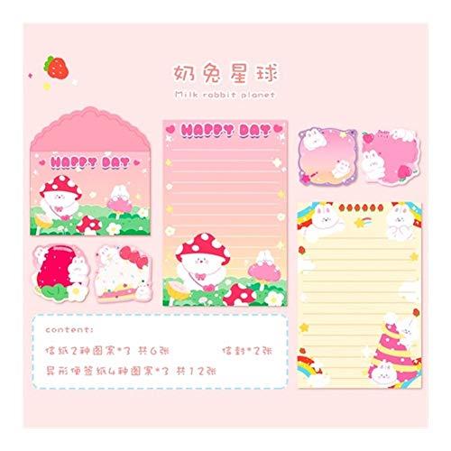 BenedictGladysd 20 Piezas Set de Kawaii Arco Iris Lindo Conejo Carta del Gato Tarjeta de Mensajes de Sobres Sistema inmóvil del Regalo del Papel de Almacenamiento ( Color : 4 )