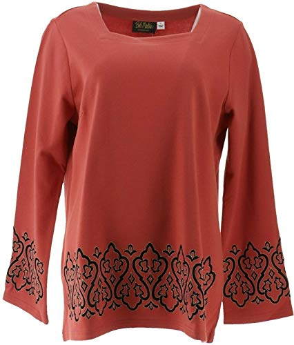 Bob Mackie Square Neck Embroidered Ponte Knit Top Spice L New A282202