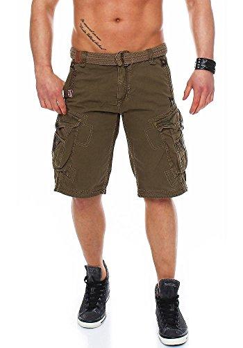 Geographical Norway Pratique Perle - Pantalones cortos cargo para hombre, con cinturón, bordados caqui L