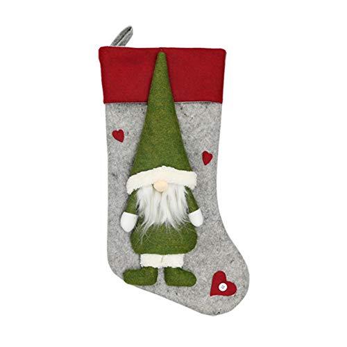 Blanchel, supporto per calza della Befana, con decorazione 3D a forma di gnomo da appendere al camino, albero di Natale A2