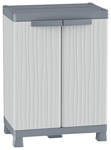 Terry, Base 700 UW, Schrank mit 2 Türen, 2 Einlegeböden, 2 Einhängekörben, für innen und außen. Farbe: Grau, Material: Kunststoff, Abmessungen: 43,8x70x97,6 cm, Hellgrau/Dunkelgrau, 8x97,6x70 cm