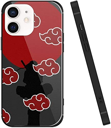 Funda para iPhone 12 Pro Max, Naruto 072 diseño de vidrio templado funda para teléfono, antiarañazos, silicona suave, ultrafina, iPhone 12 Pro Max para adolescentes y adultos - Itachi Uchiha Akatsuki