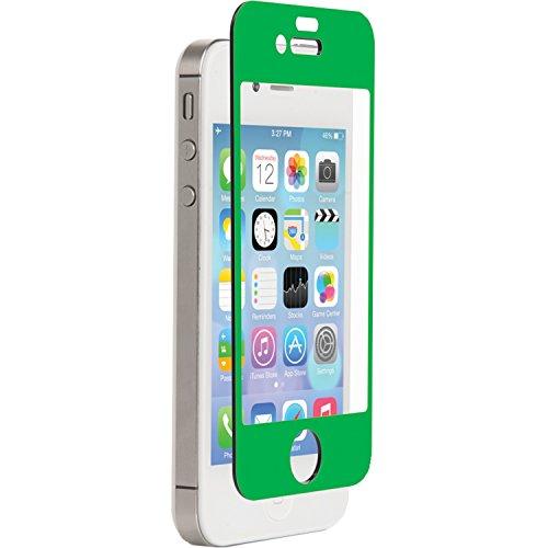 Znitro Displayschutzfolie aus Glas für Apple iPhone 4 / 4S, in Einzelhandelsverpackung, grüne Lünette