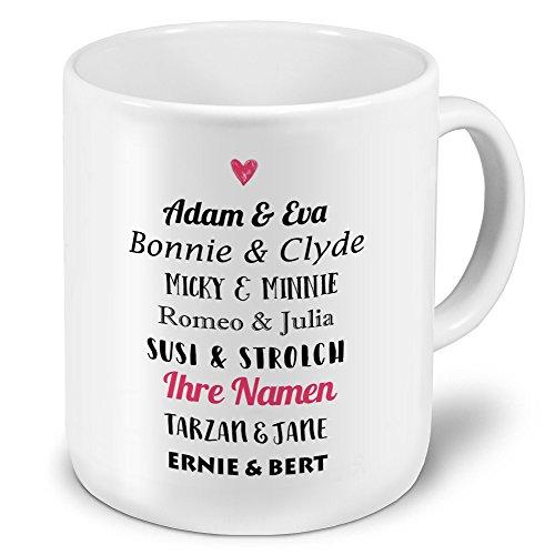 printplanet® XXL Riesen-Tasse mit Namen personalisiert - Motiv Berühmte Paare - individuell gestalten - Namenstasse, Kaffeebecher, Becher, Mug