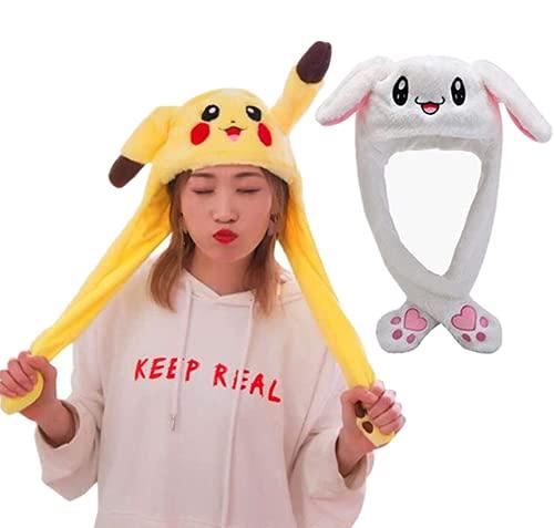 2 Stk Lustige Spielzeug Bunny Hut plüsch Pikachu Hat, Geburtstagsgeschenk mit Beweglichen Ohren Drücken der Tiermütze Machen die Ohren Bewegen Mädchen Cosplay/Animal Hat als Geschenk für Frauen Kinder