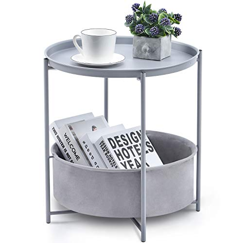 Kingrack Coffee Round Table, Metal Nightstand, Sofa Side Snack Table, Bedside End Table with Detachable Tray Top and fabric Storage Basket, Scandi Style Lamp Table for Living Room Bedroom (Light Grey)