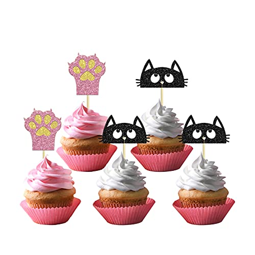 24pcs Happy Birthday Cat Cupcake Toppers, Gold and Pink Cat 1st Birthday Cake Decorations, Cartoon Theme Party Supplies for Girls or Boys