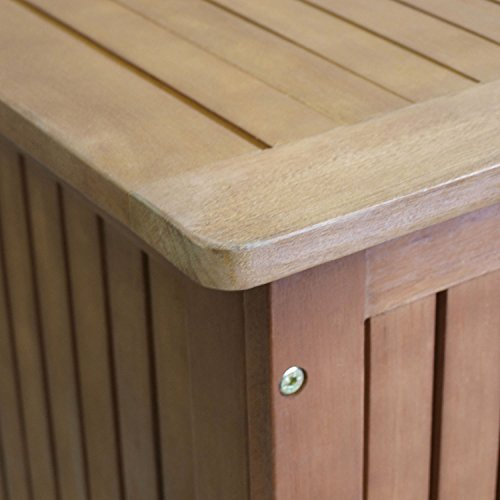 Wohaga® Gartenbox 133x58x55cm inkl. Innenplane Auflagenbox Kissenbox Gartentruhe Holztruhe Hartholz Eukalyptus Auflagentruhe - 6