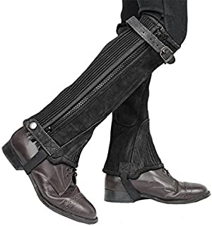 Derby Originals Adult & Kids Suede Leather Half Chaps Zipper & Elastic for Horse Riding or Motorcycle Use