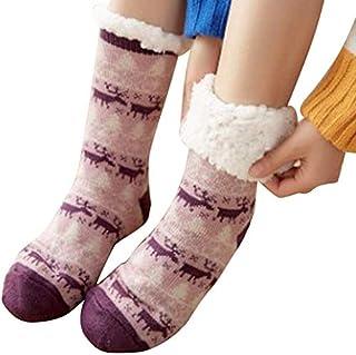 HoaJeo Calcetines Pantufla, 1Pair Cálido Ultra-Plush Calcetines Pantufla Grueso Antideslizante Interior Suelo Tobillo Calcetín para Mujer Niña Navidad Regalo - Violeta Alce