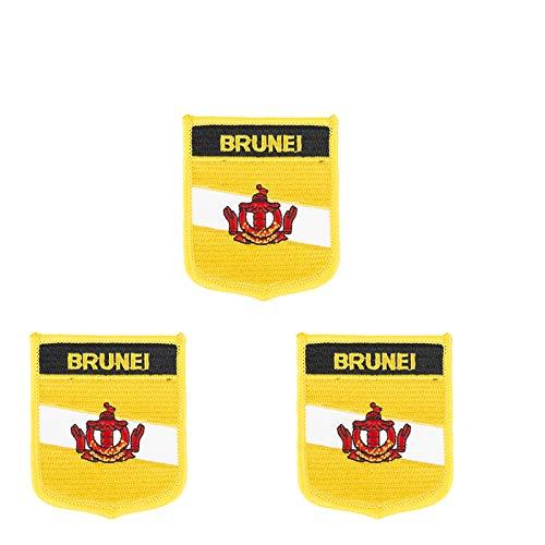 3 Stück Aufnäher mit der Flagge der Brunei-Inseln, bestickt, in Schildform, zum Aufbügeln oder Aufnähen.