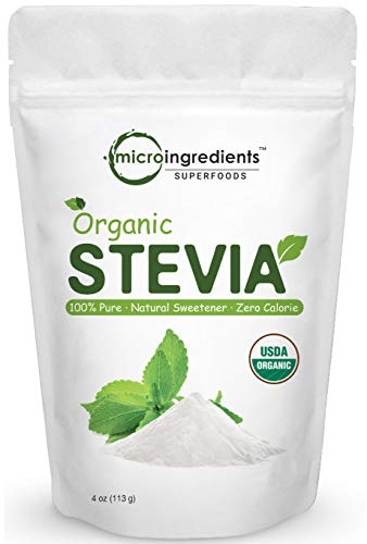 Pure Organic Stevia Powder, 4 Ounces, 706 Serving, 0 Calorie, Natural Sweetener, Sugar Alternative, Premium Stevia for Keto Diet, No GMOs and Vegan Friendly