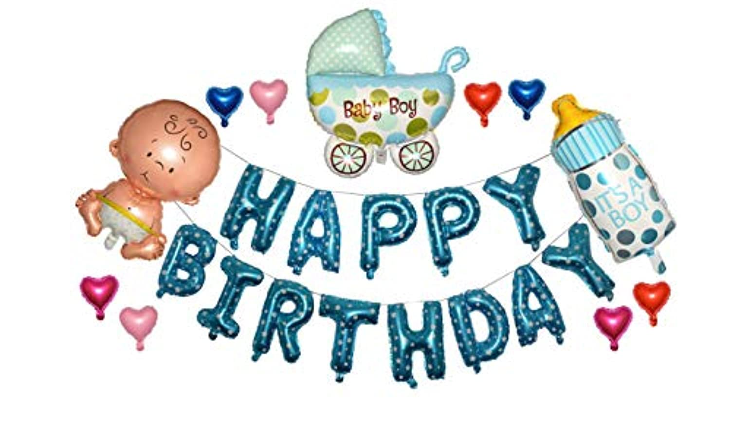 Happy Birthday Newborn Baby Boy Baby Shower First Birthday Party 14 inch Balloon Letters Decorations