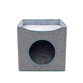 Chiic Lit Pour Chats,Tapis Anti-éraflure Pour Chien De Compagnie Pliant Cat Cube House Double Couche Kitty Nap Bed