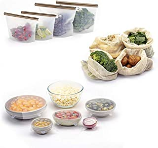 FutureUses® - Reusable Food Storage - 14 Pieces - 4 Silicone Food Bags + 6 Silicone Stretch Lids + 4 Mesh Produce Bags - F...