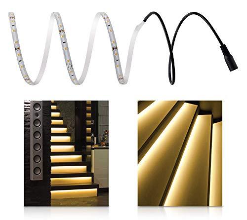 LED Universum Warmweiße Treppenbeleuchtung für den Innenbereich, Komplett-Set für 13 Stufen, jeweils 1m LED Streifen + 0,5m Anschlusskabel, 5 W/m, 300 lm/m, IP20