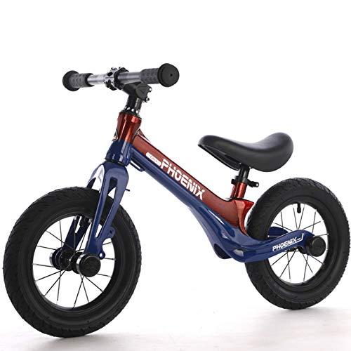 Niños Bicicleta de Equilibrio Aleación de magnesio Balance Bike con Sillín Ajustable Excelente Regalo para Niños y Niños Pequeños Radios Rueda Inflable, Red Blue
