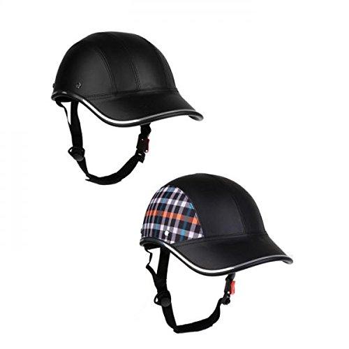 2 Stücke Baseballmütze Stil Motorrad Fahrradhelm Anti-UV Schutz Hut Schwarz