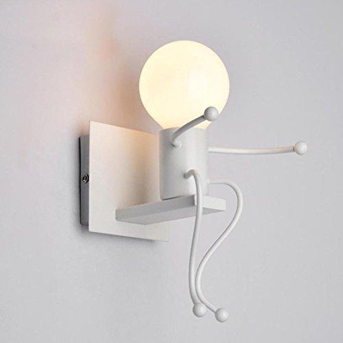 FSTH Lámparas de Pared de Creativas Escalonadas Personas Individuales Lámparas de Pared Dormitorio Sala de Moderna Lámparas de Cabecera de Metal Regalo de Pared Iluminación E27 (Blanco)