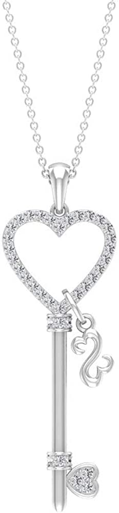 Open Heart Max 89% OFF Key Necklace HI-SI W Shipping included Diamond Vintage Charm