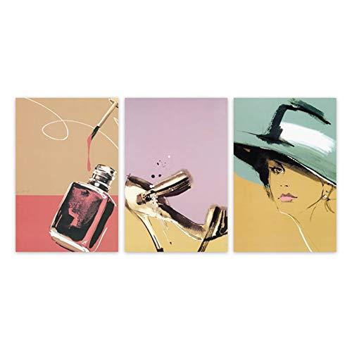 Swarouskll Abstrakte Mode Make-up Leinwand Malerei Parfüm High Heels Frauen Wandkunst Bunte Zimmer Schlafzimmer Dekor-20X28X3 Pcs In No Frame
