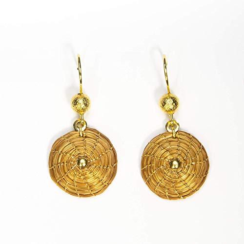 Pendientes Dorados Mandala 2cm Hechos a Mano en Oro Vegetal
