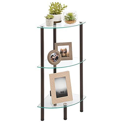 mDesign Mueble esquinero para ahorrar espacio en baños pequeños – Estantería rinconera con 3 estantes de vidrio – Mueble de baño ideal para cosméticos, toallas y accesorios – plateado y transparente
