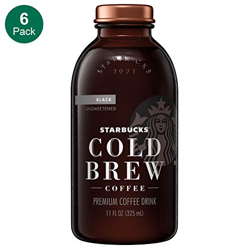 Starbucks Cold Brew Coffee, Black Unsweetened, 11 oz Glass Bottles, 6 Count