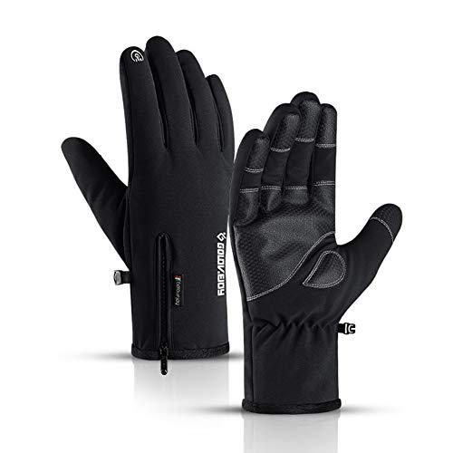 EXTSUD Guanti Invernali Touch Screen da Moto Bici Unisex Guanti Caldi Inverno Antipioggia Antivento Antiscivolo Guanti Termici Sportivi Con Zip per Ciclismo Alpinismo Sci Attività all\'Aperto Nero (XL)