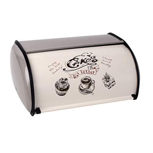 TONGXU Caja de Postre de Pan de Metal con Tapa Enrollable Contenedores de Almacenamiento de Cocina Estilo Retro para Guardar Pan Frutas Bocadillos Billetes Recordatorios (Gris)