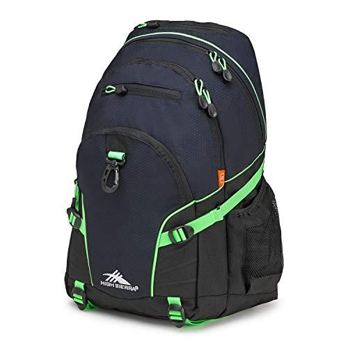High Sierra Loop Backpack, School, Travel, or Work Bookbag with tablet sleeve, Midnight Blue/Black/Lime, One Size