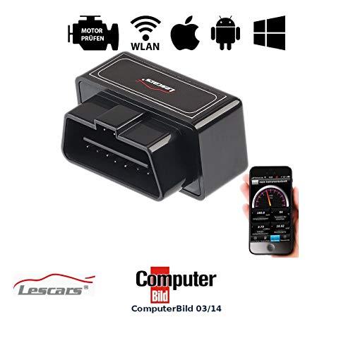 Lescars OBD-2-Profi-Adapter mit WLAN für iOS- und Android-Mobilgeräte