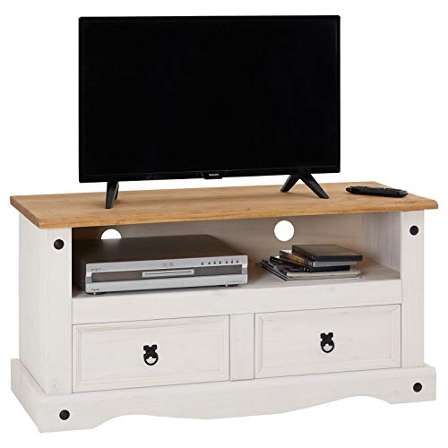CARO-Möbel TV Lowboard Campo Fernsehtisch Mexiko Stil Kiefer massiv, 2 Schubladen, 1 offenes Fach braun/weiß