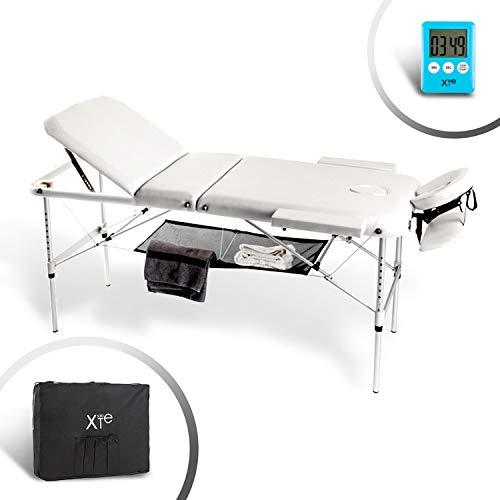 Camilla de masaje, 3 zonas, de aluminio, portátil y reclinable, con temporizador...