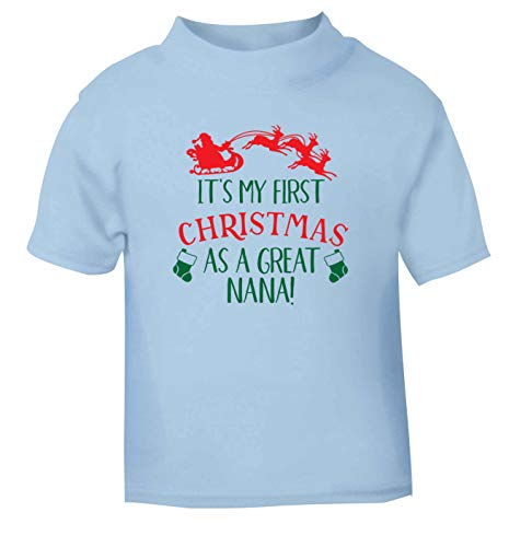 Flox Creative T-Shirt pour bébé First Christmas Great Nana Noir - Bleu - 0-3 Mois