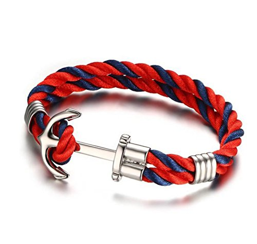 GuDeKe 5MM Rojo Azul de Acero Inoxidable de la Cuerda Anclas la Pulsera del Brazalete para el Brazo, Pulido