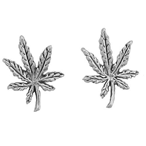 925 Sterling Silver Marijuana Earrings Charm Ganja 7 Seven Weed Pot Cannabis
